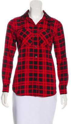 MICHAEL Michael Kors Plaid Embellished Top