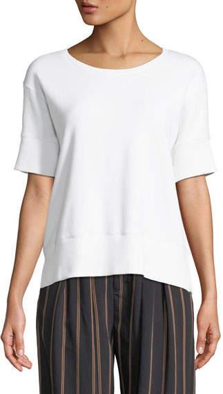 Short-Sleeve Cotton Scoop-Neck Sweatshirt Top