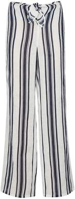 Tory Burch Awning Striped Linen Trousers