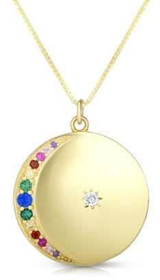 Chloé & Madison Yellow Gold Vermeil Pave Rainbow CZ Disc Pendant Necklace