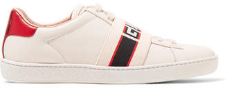 Gucci Ace Jacquard-trimmed Logo-embossed Leather Sneakers - Cream