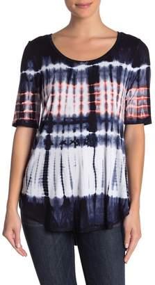 Karen Kane Hi-Lo Tie Dye Short Sleeve Shirt