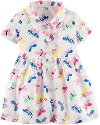 Carter's Short Flutter Sleeve Floral A-Line Dress - Baby Girls