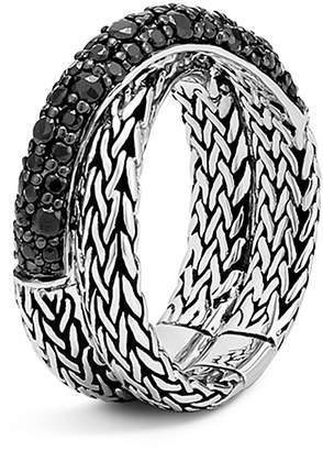 John Hardy Sterling Silver Classic Chain Overlap Ring with Black Sapphire