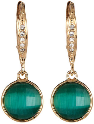 Judith Jack 10K Gold Plated Sterling Silver Crystal Studded Green Cat's Eye Drop Earrings $98 thestylecure.com