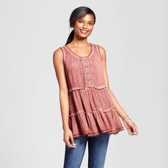 Knox Rose Women's Embellished Oil Wash Tiered Tank - Knox Rose Vintage Red $22.99 thestylecure.com