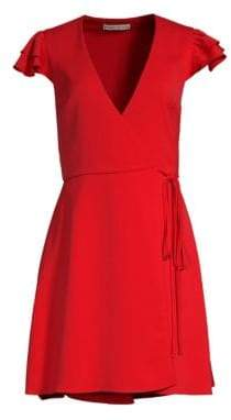 Alice + Olivia Doralee Flutter Sleeve Wrap Dress