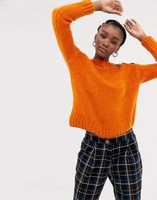New Look button detail sweater in orange