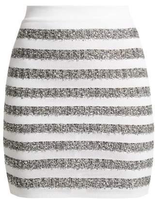 Balmain Lurex Trimmed Striped Knit Mini Skirt - Womens - White Silver