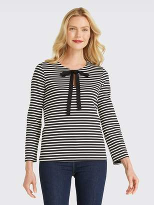 Draper James Sailor Stripe Bow Tee