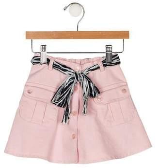 Blumarine Girls' Belted Twill Skirt