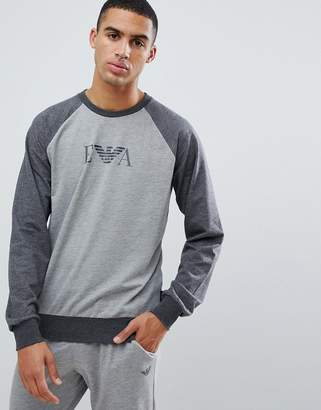 Emporio Armani chest logo sweat in gray