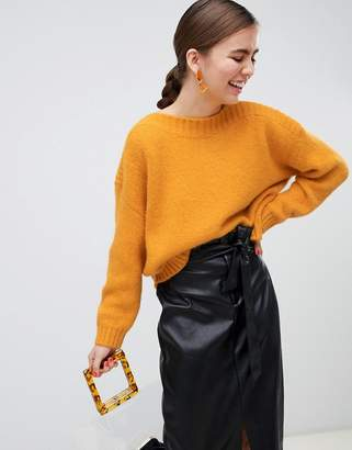 Monki textured oversized sweater in yellow