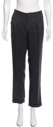 Theyskens' Theory Silk-Blend Mid-Rise Pants