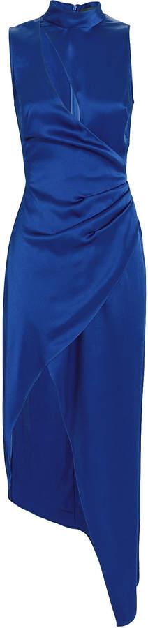 Ruched Cutout Satin Dress