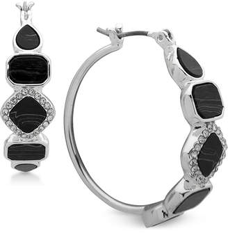 "Nine West Silver-Tone Pave & Stone 1-2/5"" Hoop Earrings"