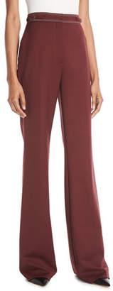 Gabriela Hearst Vesta High-Waist Wide-Leg Wool Pants w/ Contrast Topstitching