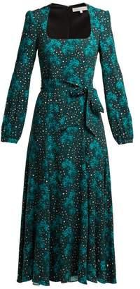Borgo de Nor Annabella Orchid And Leopard Print Midi Dress - Womens - Green Print