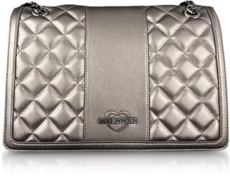 Love Moschino Gunmetal Quilted Eco leather Shoulder Bag