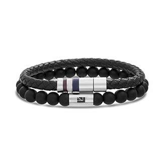 Ben Sherman Men's Braided Faux Leather and Onyx Duo Bracelet Set in Stainless Steel