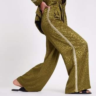 River Island Womens RI Studio khaki sequin side stripe pants