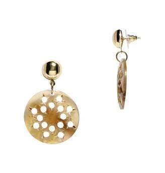 Mela Artisans Ankara Dangle Earrings in Light Horn