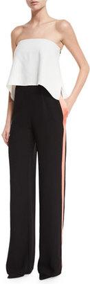 Diane von Furstenberg Amare Strapless Track-Stripe Jumpsuit $498 thestylecure.com
