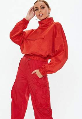 Missguided Red Overhead Crop Jacket