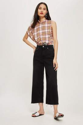 Topshop MOTO Washed Black Cropped Wide Leg Jeans