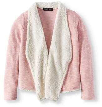 Derek Heart Big Girls' Open Front Cardigan Sweater With Sherpa Collar