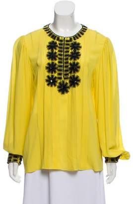 Oscar de la Renta Embellished Silk Top