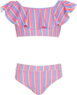 River Island Girls pink stripe bardot tankini