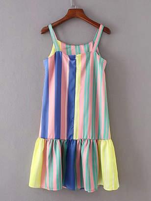 Shein Vertical Striped Ruffle Hem Cami Dress