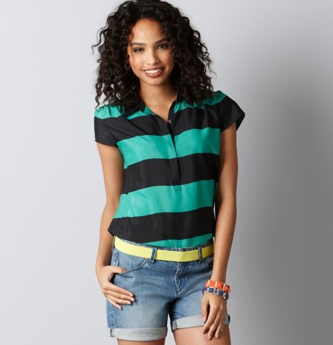 Colorblock Stripe Polo Top