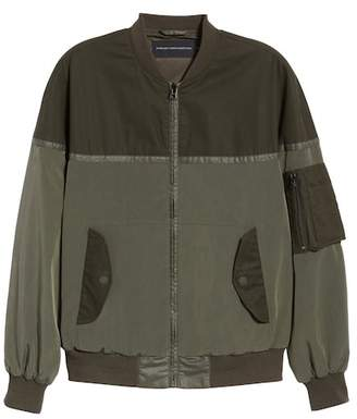 French Connection Patchwork Waxed Bomber Jacket