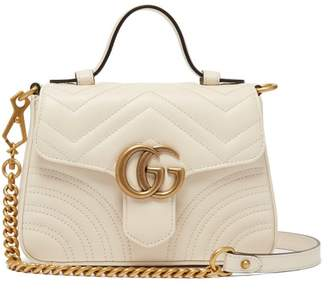 Gucci Gg Marmont Quilted Leather Cross Body Bag - Womens - White