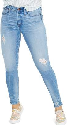 Madewell 9-Inch Destructed Hem High Waist Skinny Jeans