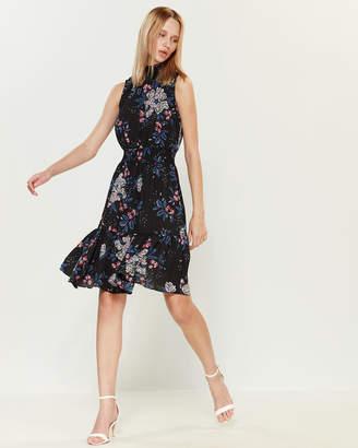 Nanette Lepore Nanette Smocked Mock Neck Floral Dress