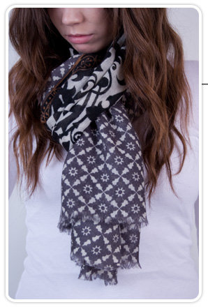 Epice Brocade Print Wool Scarf in Black and White