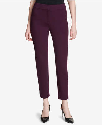 Calvin Klein Faux-Leather Stripe Ankle Pants