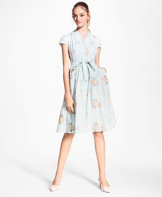 Brooks Brothers Petite Floral-Embroidered Striped Cotton-Silk Shirt Dress