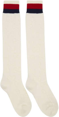 Gucci White Tall Spring GG Socks