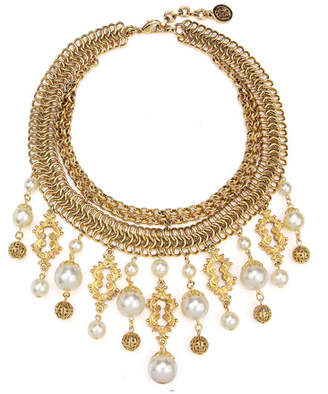 Ben-Amun Golden Chain Multi-Drop Pearly Bib Necklace