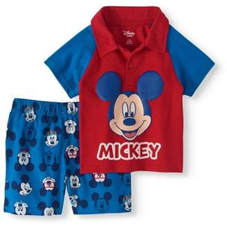 Disney Mickey Mouse Baby Boy Polo Shirt & Shorts, 2pc Outfit Set