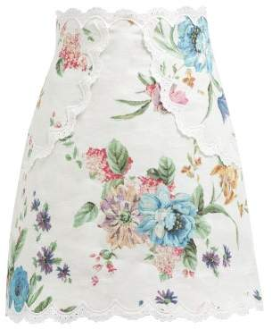 Zimmermann Ninety Six Floral Printed Linen Skirt - Womens - White Print