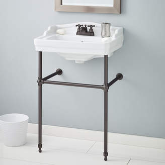 """CheviotProducts Essex Metal 24"""" Console Bathroom Sink with Overflow"""