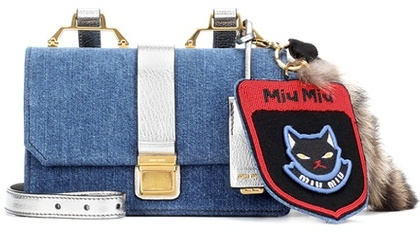 Miu MiuMiu Miu Fur-embellished denim shoulder bag