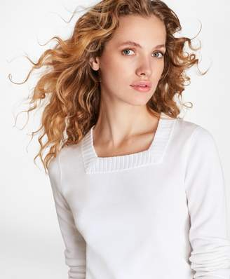 Brooks Brothers Milano-Knit Square-Neck Sweater