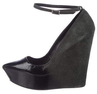 Theyskens' Theory Suede Wedge Pumps
