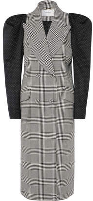 Erdem Albert Double-breasted Polka-dot And Prince Of Wales Checked Cotton-blend Coat - Black